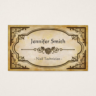 Nail Technician - Elegant Vintage Antique Business Card