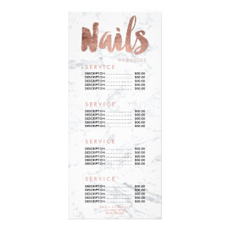 Nails modern gold typography marble price list custom rack cards