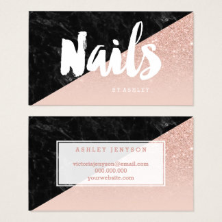 Nails modern typography block blush rose gold business card
