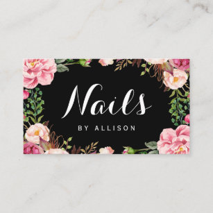 Manicures manicurist business cards business card printing zazzle ca nails salon nail technician romantic floral wrap business card reheart Images
