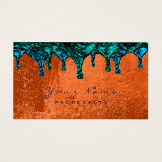 Nails Wax Epilation Depilation Blue Teal Coral Business Card