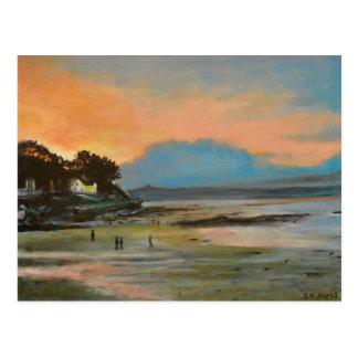 Nairn beach at sunset postcard