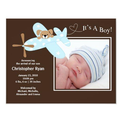 Naissance bleue Annoucement de bébé d'avion Carton D'invitation 10,79 Cm X 13,97 Cm