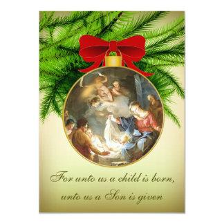 Naissance de Jésus de nativité d'ornement de Noël Carton D'invitation 11,43 Cm X 15,87 Cm