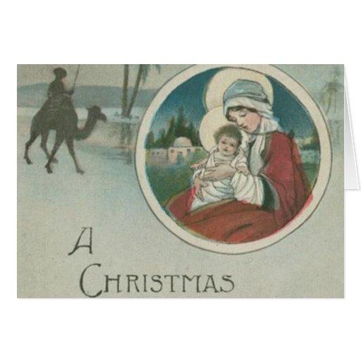 Naissance des salutations de Noël de Jésus Cartes