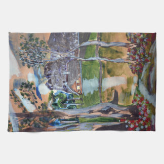 naive watercolor painting forest nature house land kitchen towel