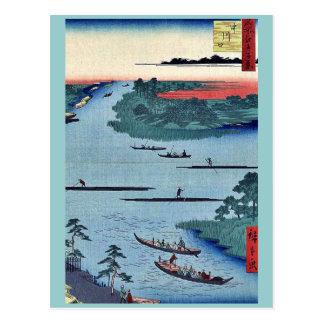 Nakagawa river mouth by Ando, Hiroshige Ukiyoe. Postcard