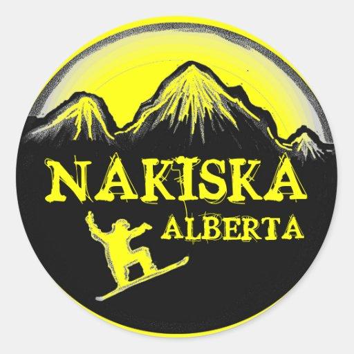 Nakiska Alberta Canada yellow snowboard stickers