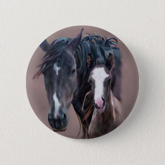 Nakota Mare and Foal 2 Inch Round Button