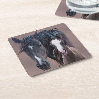Nakota Mare and Foal Square Paper Coaster