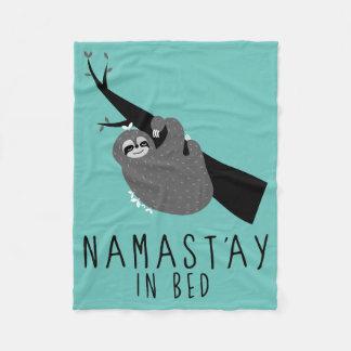 namast'ay in bed sloth fleece blanket