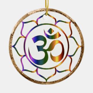 Namaste Aum (Om) & Lotus with Gold Bronze Border Ceramic Ornament