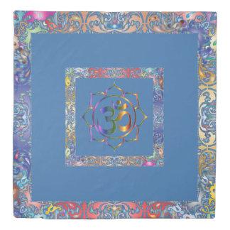 Namaste Aum Om & Lotus with Rainbow Vintage Border Duvet Cover