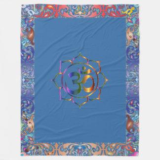 Namaste Aum Om & Lotus with Rainbow Vintage Border Fleece Blanket