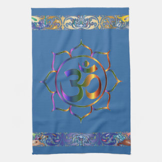 Namaste Aum Om Lotus with Rainbow Vintage Border Kitchen Towel