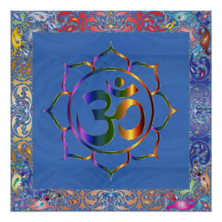 Namaste Aum Om & Lotus with Rainbow Vintage Border Poster