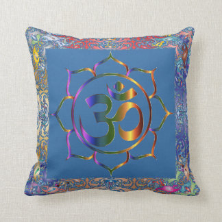 Namaste Aum Om & Lotus with Rainbow Vintage Border Throw Pillow