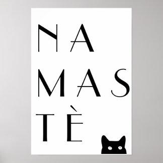 Namaste black cat poster