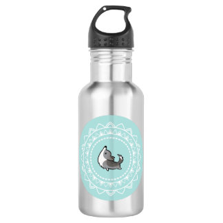 Namaste Corgi Blue Merle Emblem Water Bottle