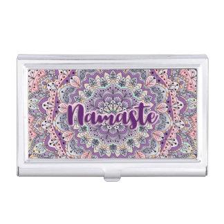 Namaste Cute pink and purple floral mandala Business Card Holder