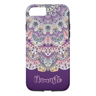 Namaste Cute pink and purple floral mandala Case-Mate iPhone Case