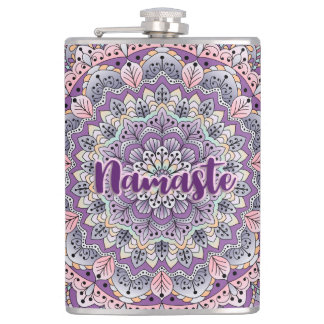 Namaste Cute pink and purple floral mandala Hip Flask