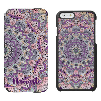 Namaste Cute pink and purple floral mandala Incipio Watson™ iPhone 6 Wallet Case