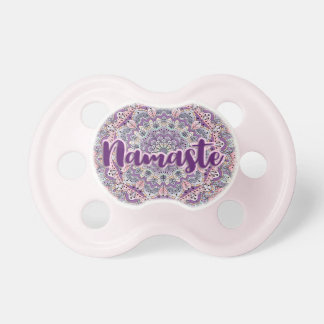 Namaste Cute pink and purple floral mandala Pacifier