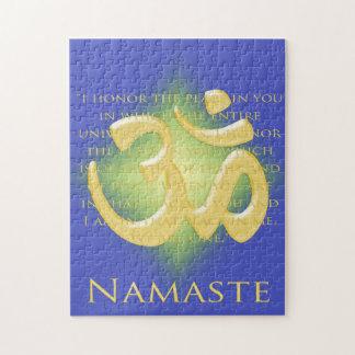 Namaste Definition with Om Symbol - on Blue Jigsaw Puzzle