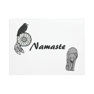 Namaste Dreamcatcher Wolf and Raven Doormat