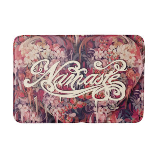 Namaste, floral script bathroom mat