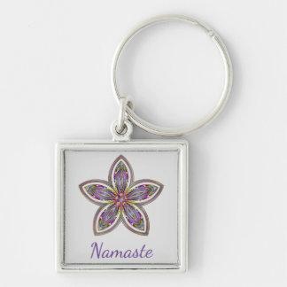 Namaste flower mandala Silver-Colored square keychain