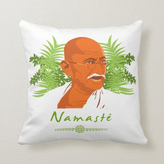 Namaste Gandhi Throw Pillow