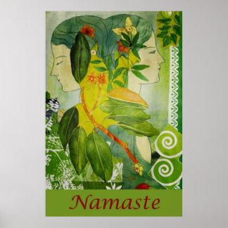 """Namaste Green Goddesses 24"""" x 36"""" Poster"""