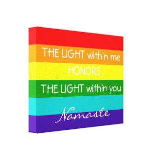 Namaste Greeting Rainbow Flag LGBT Typography Canvas Print
