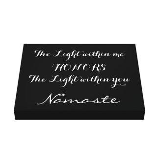 Namaste Inspirational Black White Typography Canvas Print