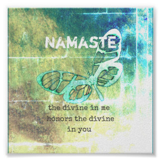 namaste inspirational  quote poster teal butterfly