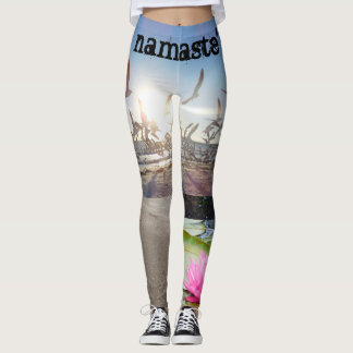 namaste' lotus beach yoga leggings