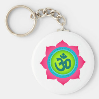 Namaste Lotus Flower Om Yoga Basic Round Button Keychain