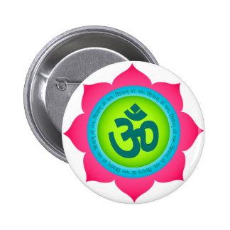 Namaste Lotus Flower Om Yoga Button