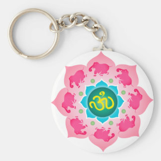 Namaste Lotus Flower Om Yoga Basic Round Button Keychain