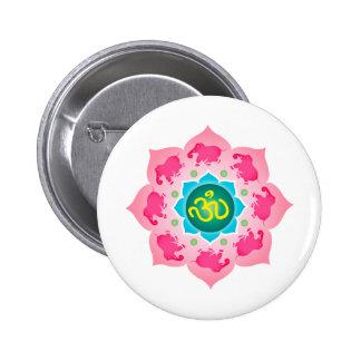 Namaste Lotus Flower Om Yoga Pinback Buttons