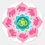 Namaste Lotus Flower Om Yoga Round Sticker