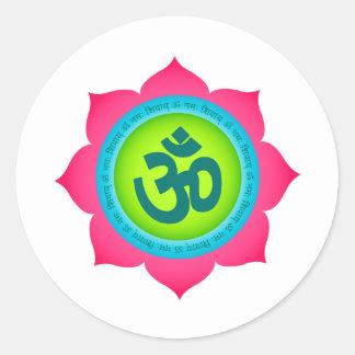 Namaste Lotus Flower Yoga Om Round Sticker
