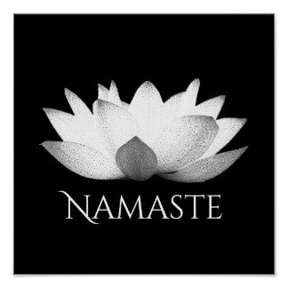 Namaste Lotus Flower Yoga Poster