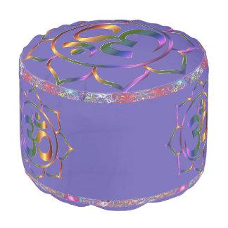 Namaste Lotus Ultra Violet Rainbow Vintage Border Pouf