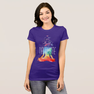 Namaste Lotus Yoga Pose Colorful T-Shirt