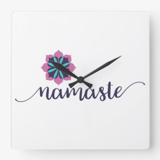namaste mandala square wall clock