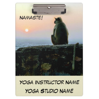 Namaste Meditation Yoga Monkey in India at Sunset Clipboard