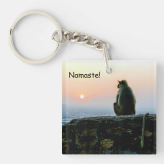 Namaste Meditation Yoga Monkey in India at Sunset Keychain